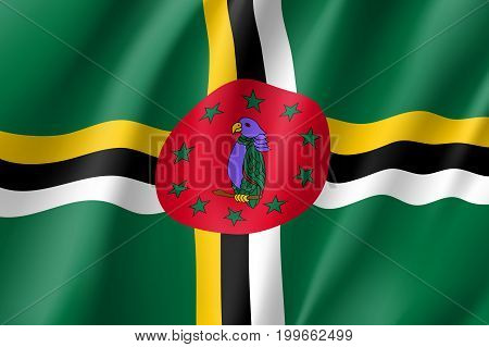 Flag Dominica realistic icon. State insignia of the nation in realistic style on the entire page. Waving state flag. National symbol in the form of a vector illustration