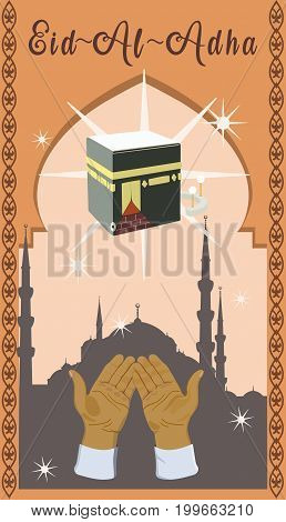 Poster for Eid Al Adha Mubarak or Bakrid Mubarak withWith palms during prayer, Kaaba and stars on background of the mosque.