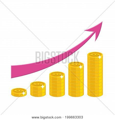 Income growth cartoon style isolated. The increase of profit in gold bitcoins with pink arrow for designers and illustrators. Gold pieces income growth in the form of a vector illustration