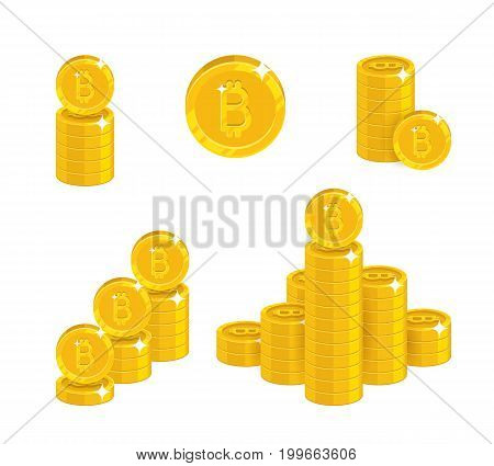 Piles gold bitcoins isolated cartoon set. A lot of stacks and slides of gold bitcoins and bitcoin signs for designers and illustrators. Gold bunches of pieces in the form of a vector illustration