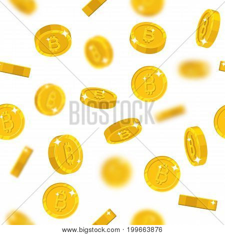Flying gold bitcoins seamless pattern. Background of flying gold bitcoins as a pattern for designers and illustrators. Cover of floating gold pieces in the form of vector illustration