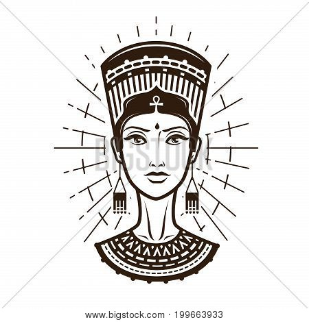 Portrait of beautiful young woman, girl in ethnic outfit. Egypt, Africa logo