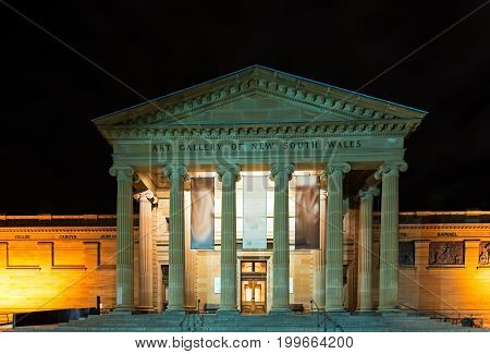 Sydney, Australia - October 18, 2015: Night View Of The Art Gallery Of New South Wales Building In S
