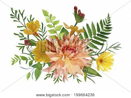 Flower bunch airy wreath bouquet of garden yellow primrose orange Dahlia red calendula flowers forest fern green leaf eucalyptus greenery mix. Wedding trendy vector card illustration. Watercolor style