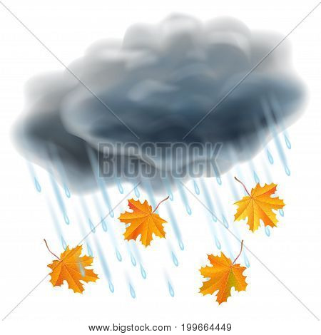 Rain illustration. Realistic gray clouds raindrops and falling orange maple leaves. Autumn and rain different weather season specific. Vector illustration