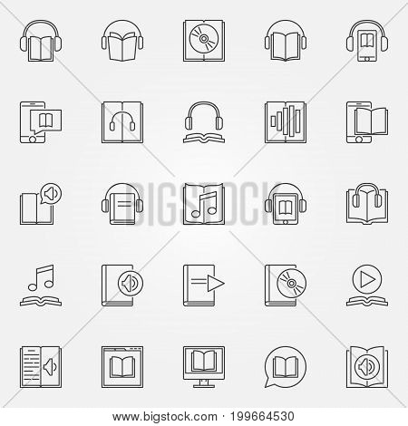 Audiobook icons set - vector collection of audio book and e-book concept symbols in thin line style