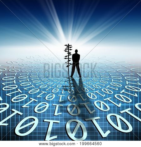 conceptual image of silhouetted directional sign and businessman on binary code matrix