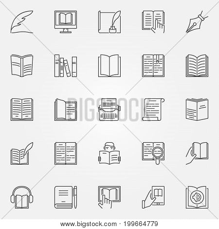 Literature icons set. Vector education and reading concept symbols in thin line style. Book outline signs or logo elements