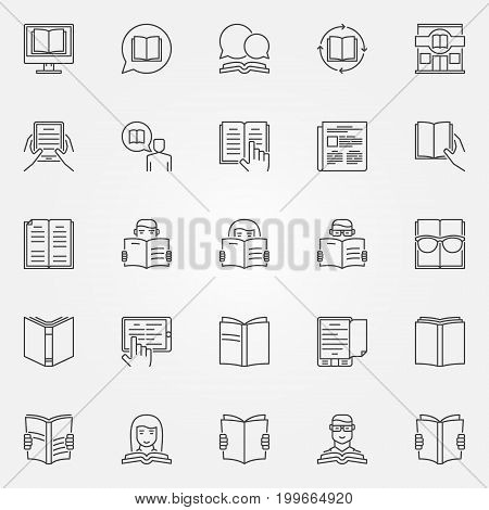Reading icons vector set. Book reading concept signs or design elements in thin line style