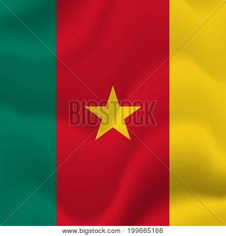 Cameroon waving flag. Waving flag. Vector illustration.