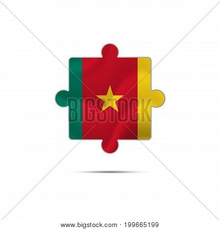 Isolated piece of puzzle with the Cameroon flag. Vector illustration.
