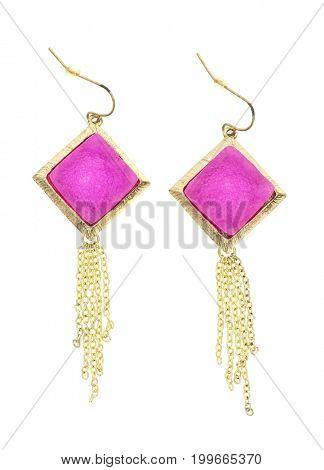 handmade pink stone earrings isolated