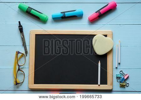 Empty Blank Chalkboard With School Goods