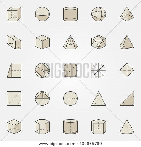 Geometry colorful icons. Vector set of creative geometric shapes signs. Cylinder, cube, pyramid, sphere brown concept symbols or design elements