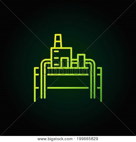 Geothermal power plant green icon - vector colorful symbol or logo element in thin line style on dark background