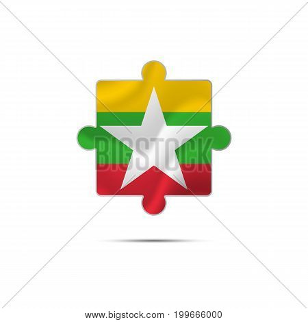 Isolated piece of puzzle with the Myanmar flag. Vector illustration.