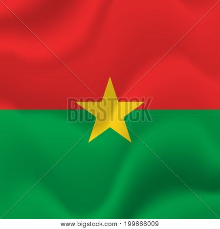Burkina Faso waving flag. Waving flag. Vector illustration.