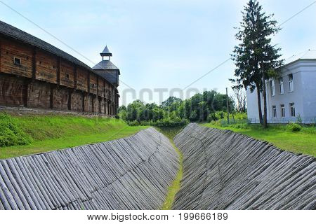 Baturyn Citadel in the Cossack Hetmanate Baturyn Citadel with protective wooden ditch. Ancient Slavonic architecture of Baturyn fortress in hetman capital