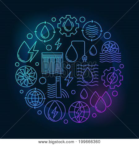 Hydropower colorful circular illustration made with electricity and energy outline concept icons on dark background