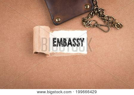 Embassy. Inscription in window of torn paper.