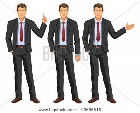 Man in business suit with tie. Handsome guy gesturing. Elegant businessman in different poses. Stock vector