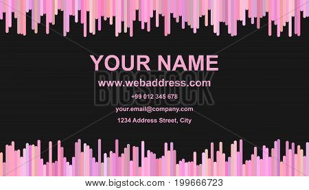 Colorful business card template design - vector name card graphic with vertical rounded stripes in pink tones on black background