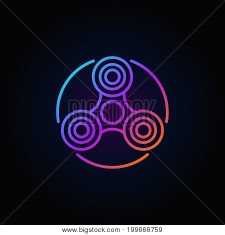 Fidget spinner colorful icon - vector hand spin toy concept outline symbol or logo element on dark background