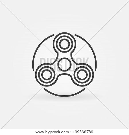 Hand triple spinner simple icon. Vector modern fidget spinner linear symbol or design element