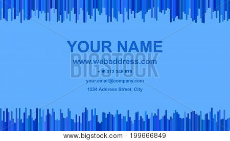 Business card template design - vector identity illustration with vertical stripes in blue tones