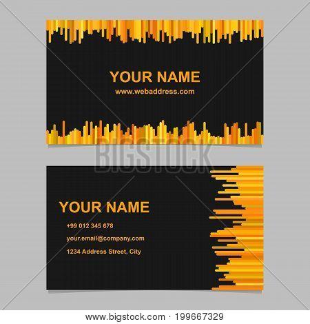 Color business card template set - vector namecard design with vertical stripes in orange tones on black background