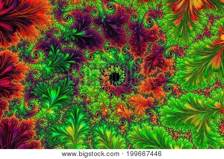 Ornate fractal background - abstract computer-generated image. Digital art: leaves and spirals, forming a frame. For cards, web design, covers.