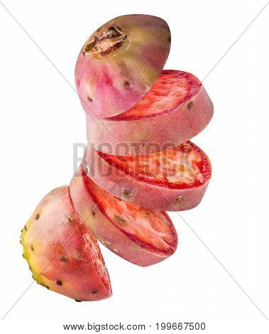 Prickly Pears, Opuntia, Indian Fig Isolated On White Background