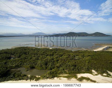 Aerial View Daniela Beach In Florianopolis, Brazil. July, 2017.