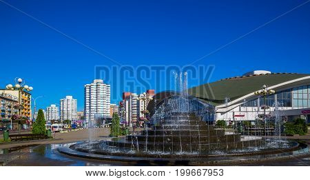 Belarus Minsk architecture Komarovsky market against the blue sky building fragment July 30 2017 editorial