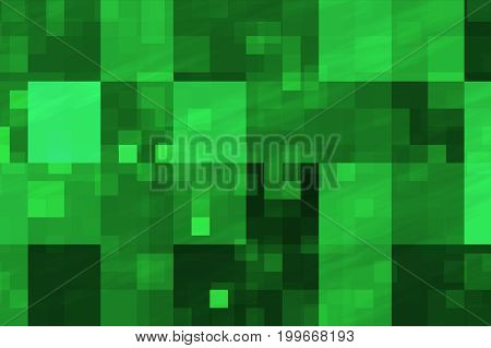 Abstract Fractal Green Flashing Cubes Illustration Background