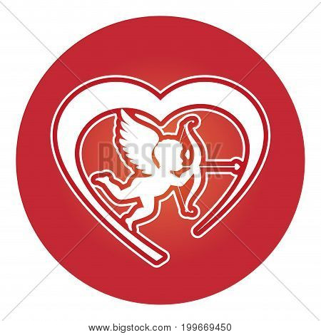 heart love card with cupid angel vector illustration design