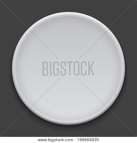 vector modern dish plate on white background