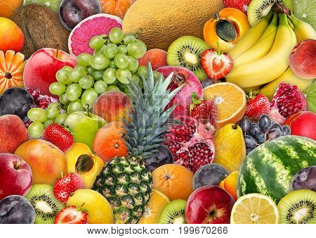 Food background - Consisting of assorted juicy appetizing fruit