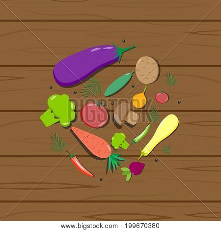 Vegetables on a wooden texture vector nutrition, radish, summer, ingredient