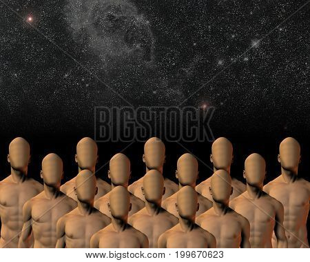 Group under sky   3D rendering