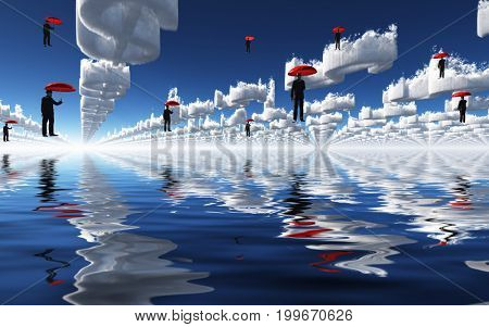 Surreal digital art. Men flies with red umbrellas over water surface. Clouds in shape of dollar's sign.   3D rendering