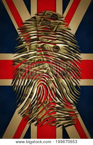 Fingerprint with dollar pattern on a Great Britain flag.   3D rendering