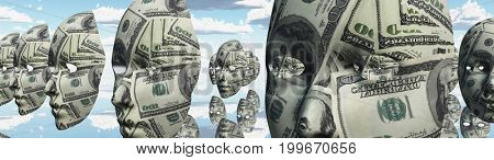 Surreal digital art. Woman's masks with dollars pattern hovers in cloudy sky.   3D rendering