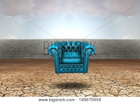 Surreal digital art. Blue armchair hovers above barren cracked land.   3D rendering