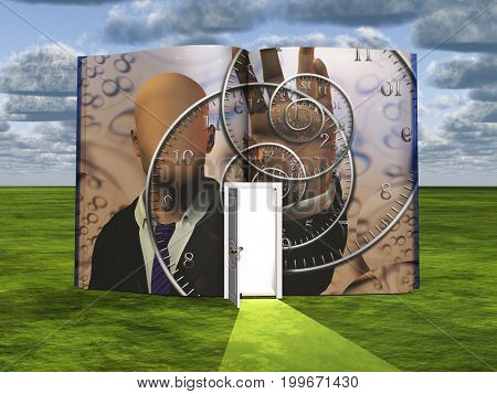 Book with science fiction scene and open doorway of light   3D rendering
