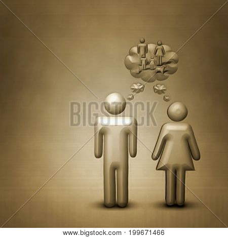 Figures of man and woman are dreaming on family.   3D rendering