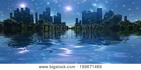 Surreal digital art. City surrounded by green trees in water world. Bright stars in the sky.   3D rendering