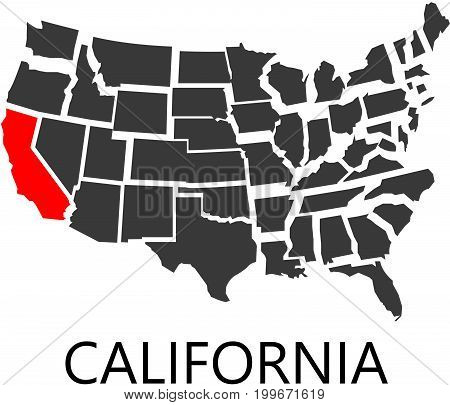 Bordering map of USA with State of California marked with red color.