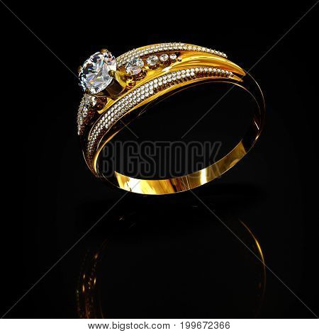 Gold ring with diamond gem jewelry. Luxury jewellery bijouterie with crystal gemstone .Reflection of light inside ring inside ring and on reflection surface black background. 3D rendering Flying