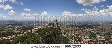 Panorama view of the San Marino fortress, Italy